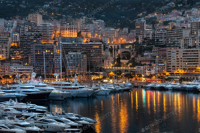 Evening view of the Port of Monaco in the Principality of Monaco