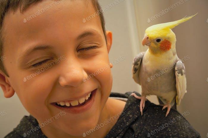 Boy laughing at bird