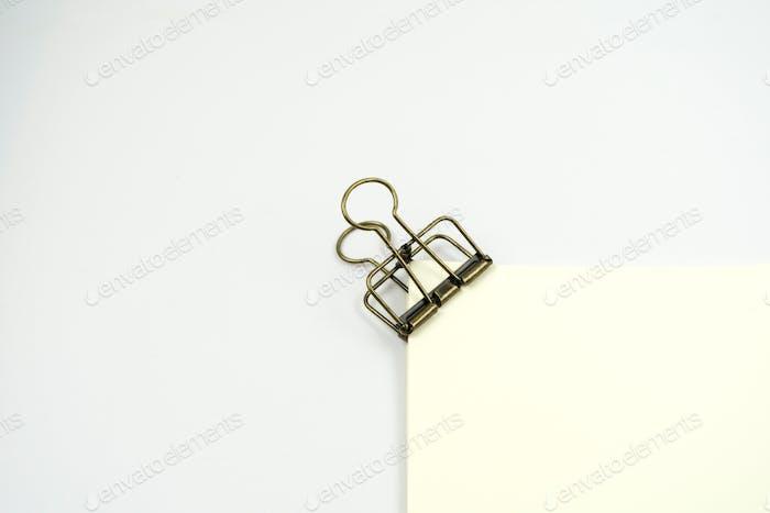 paper clip on white paper.