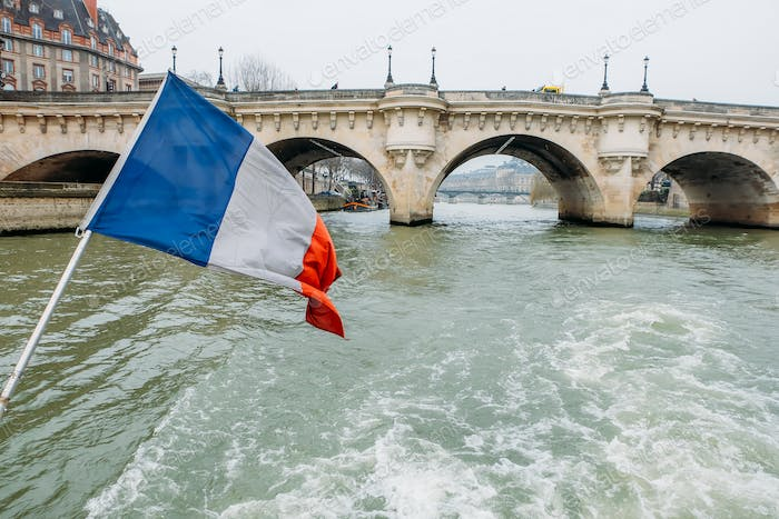 French Flag on the river seine in Paris, France