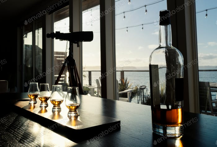 Tasting bourbon old fashioned glasses with sea view.