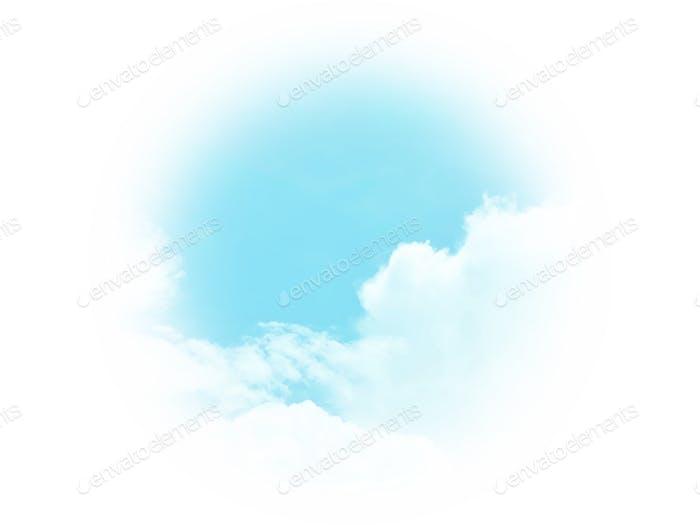 Soft blue sky and white clouds frame