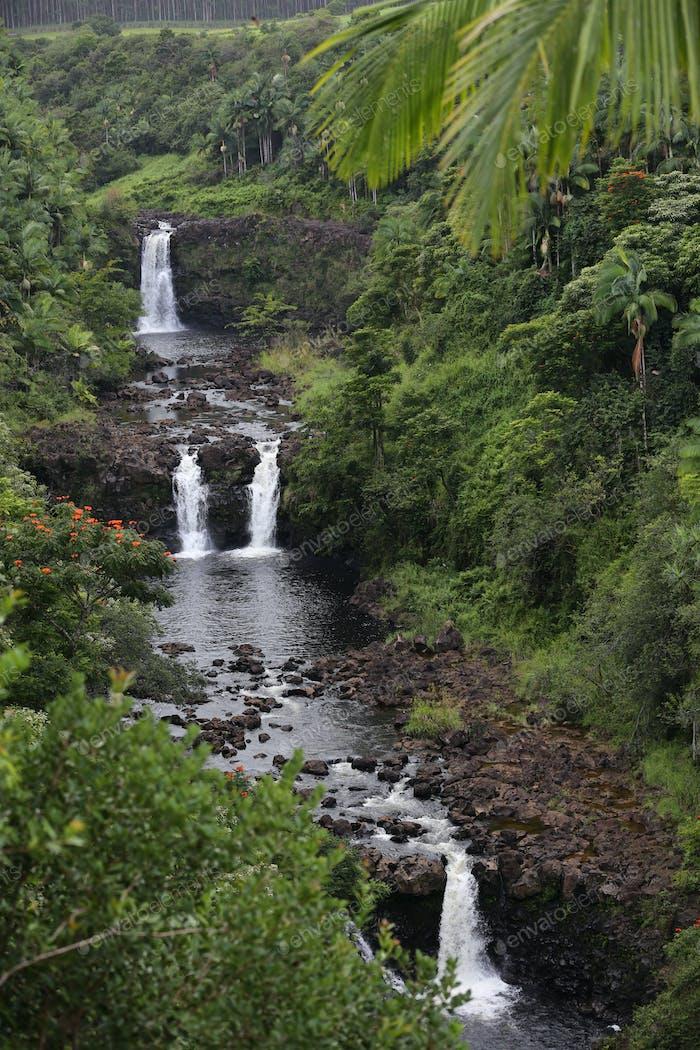 Красивый многоуровневый водопад, спрятанный в холмах Гавайев с освежающими бассейнами.
