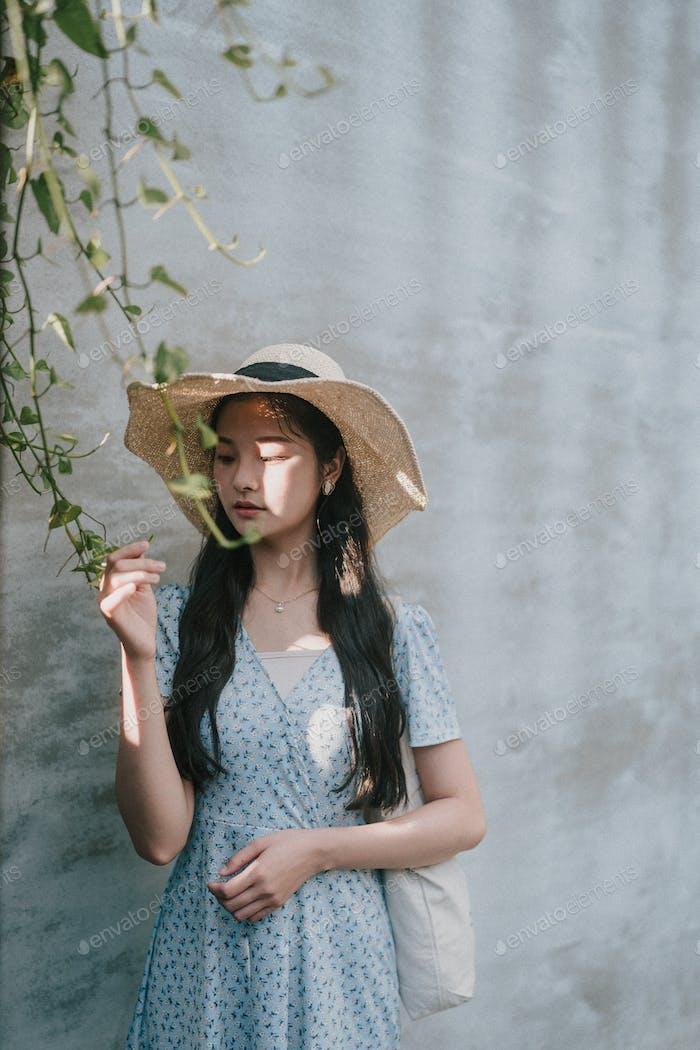 Teen girl of asian in summer