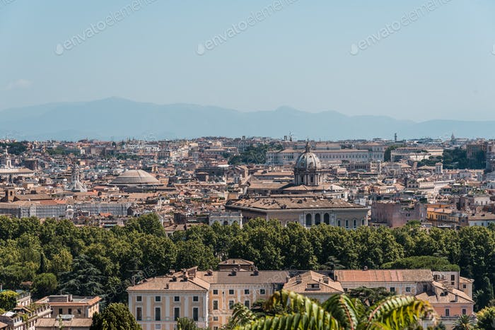 View of Rome from Giuseppe Garibaldi Square, Italy.