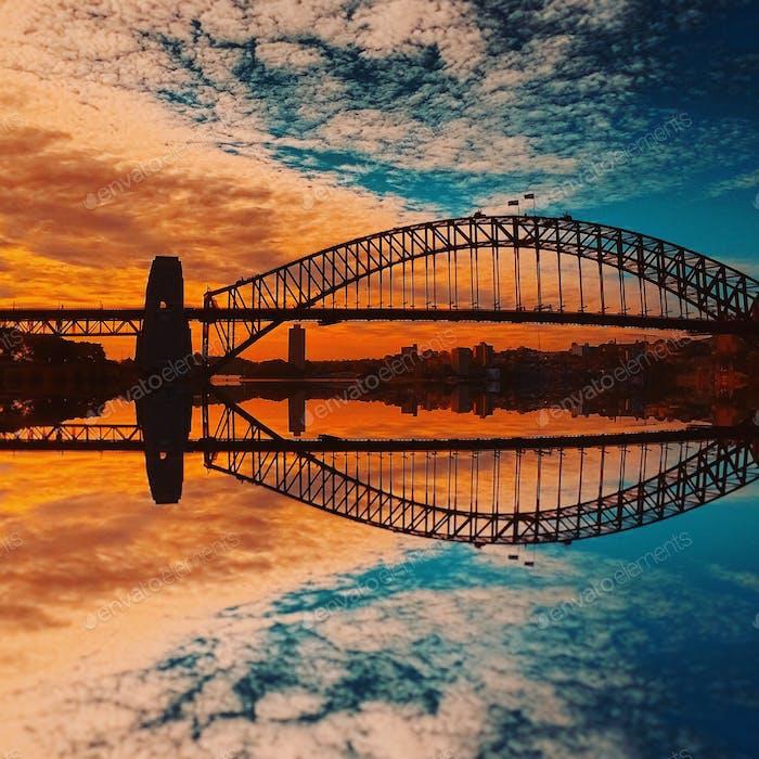 Sunset view in Sydney Harbour Bridge