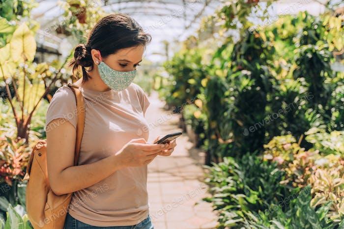 Woman wearing protective face mask during coronavirus