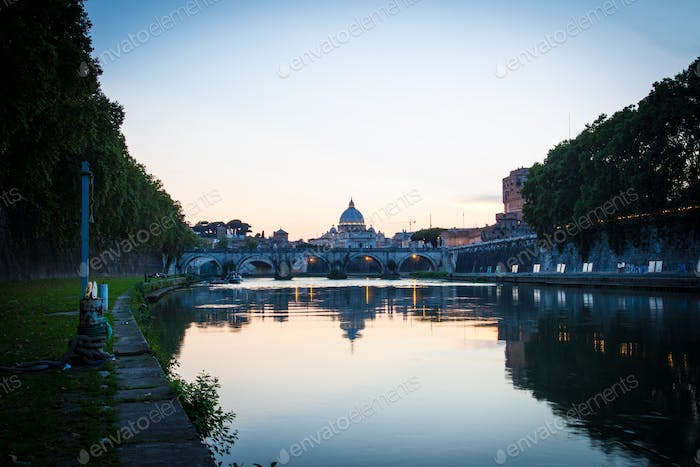 Rome at twilight at river tiber with Vatican