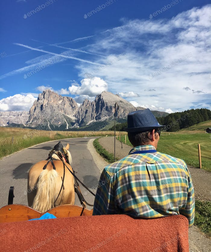 Old school carriage ride in the Dolomites at Alpe di Siusi.