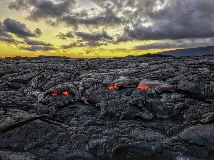 Glowing running lava field