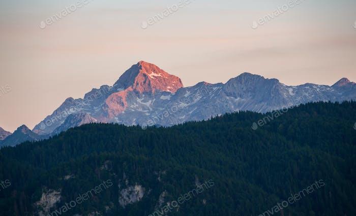 Triglav mountain peak at sunrise