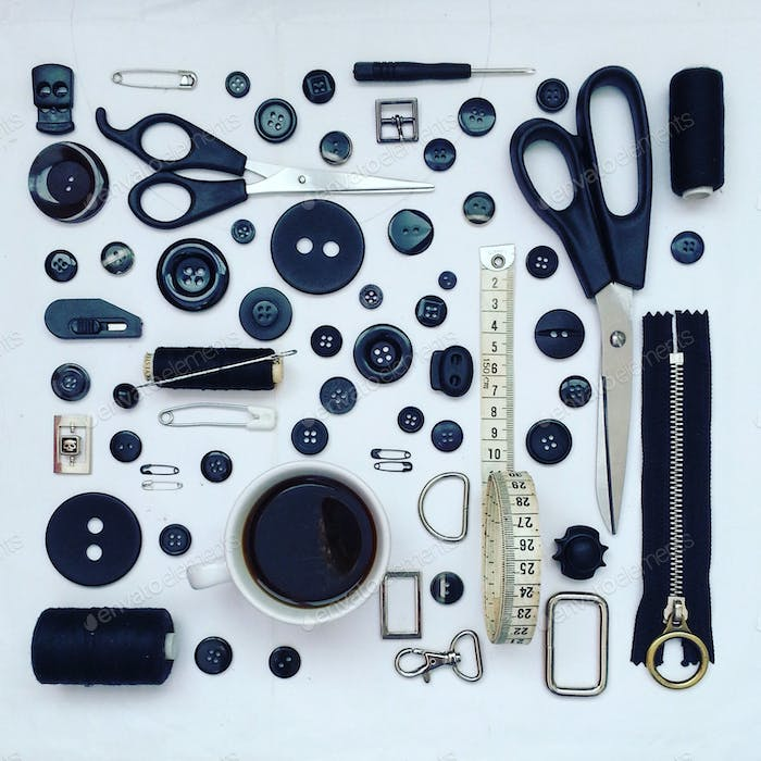 sewing items arranged neatly on table top view