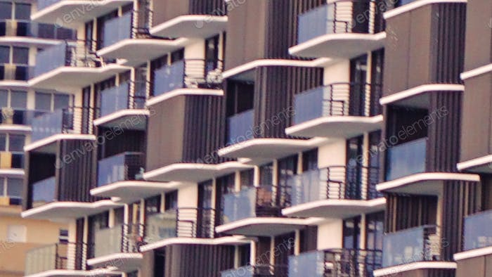 Zoomed-in On Balconies At A Beachfront Condominium