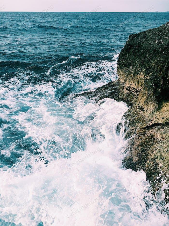 Powerful waves crashing