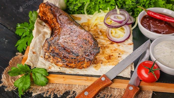 Food banner. Pork Loin. Grilled meat steak.