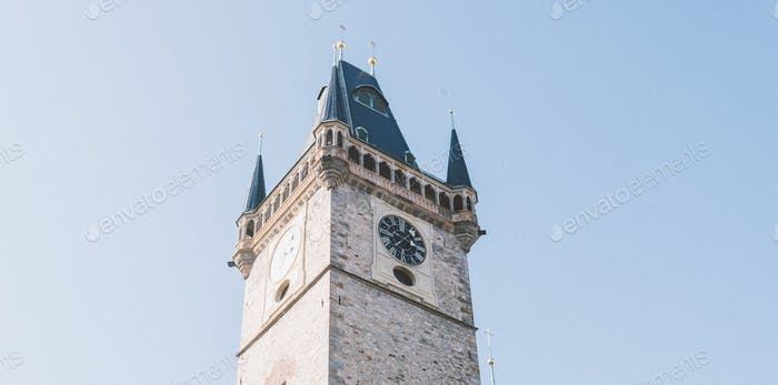 Tower clock. Prague architecture and tourism.