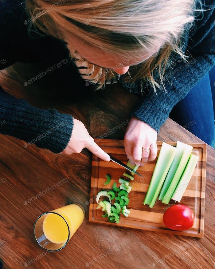 Chopping veggies !