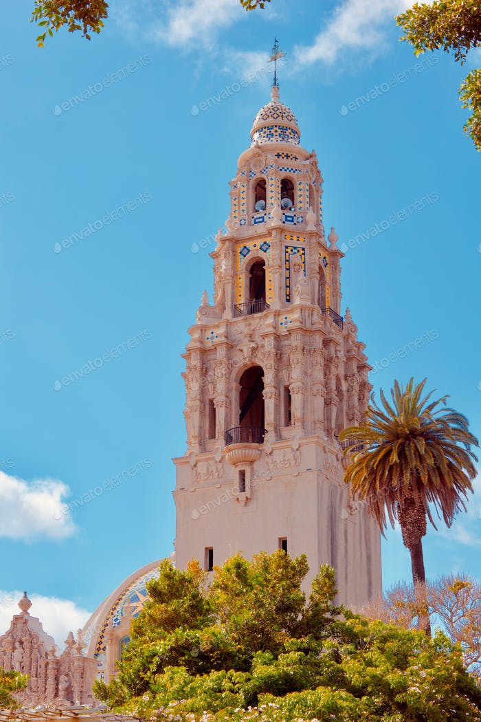 The beautiful and iconic, California Tower in Balboa Park, San Diego
