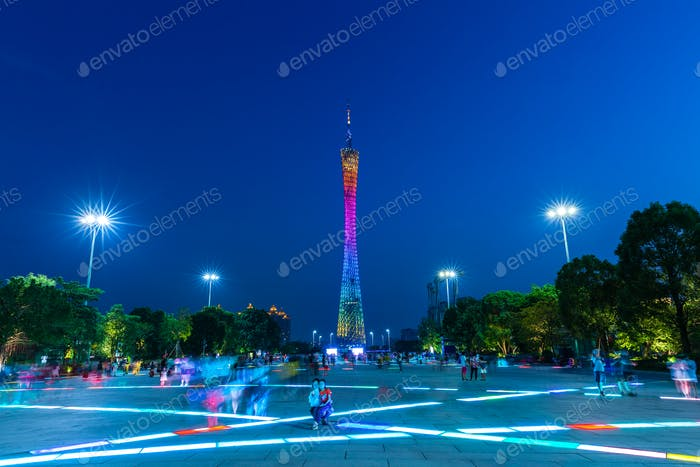 Dusk view of the Canton tower as seen from the Flower Square in Guangzhou, China on Octover 4, 2016.