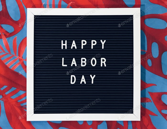 Happy Labor Day sign on red and blue background