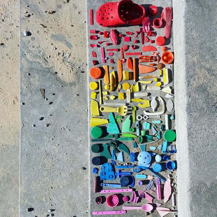 Large collection of discarded plastic pollution found on the beach