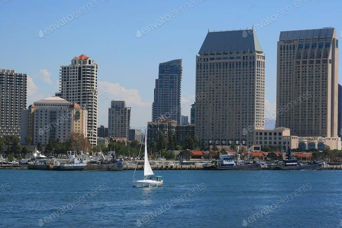 San Diego-San Diego skyline on San Diego Bay.