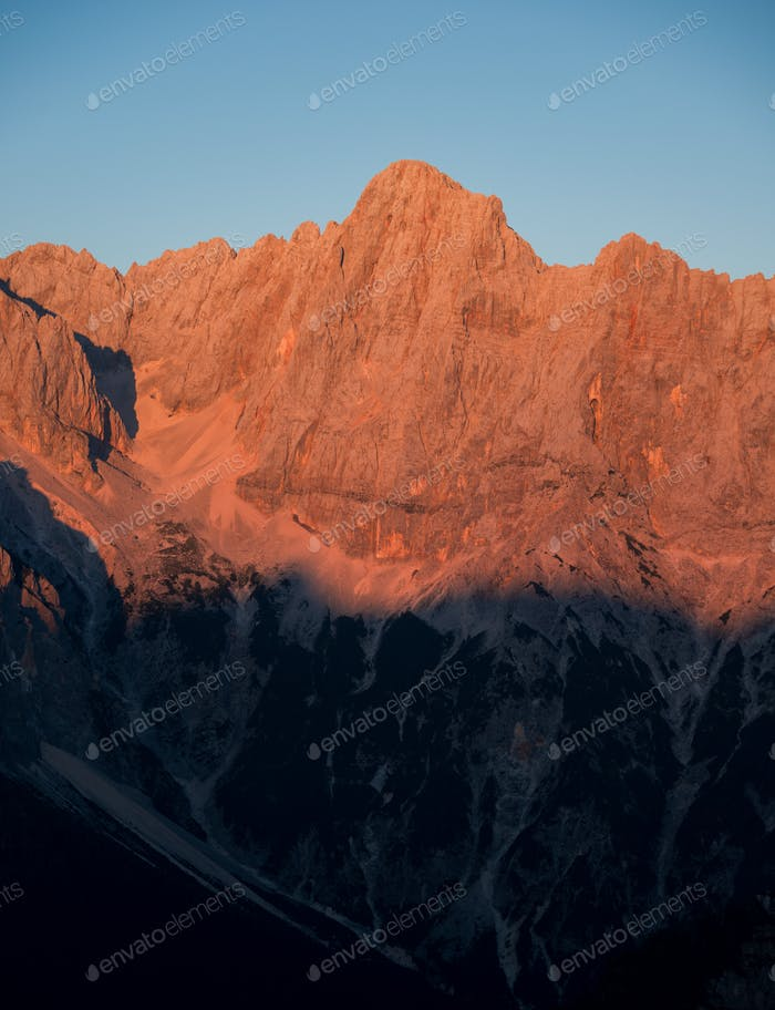 Sunset in the Julian Alps mountains