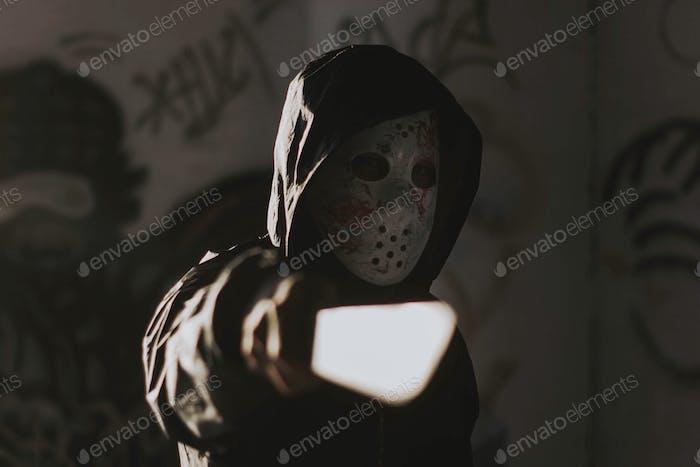 Jason friday 13th serial killer cosplay on halloween