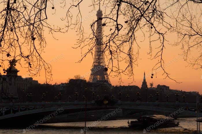 Eiffelturm Blick, Paris, Tourismus, Sonnenuntergang