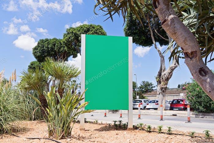 Urban modern city billboard outdoor advertising in Malta against sky
