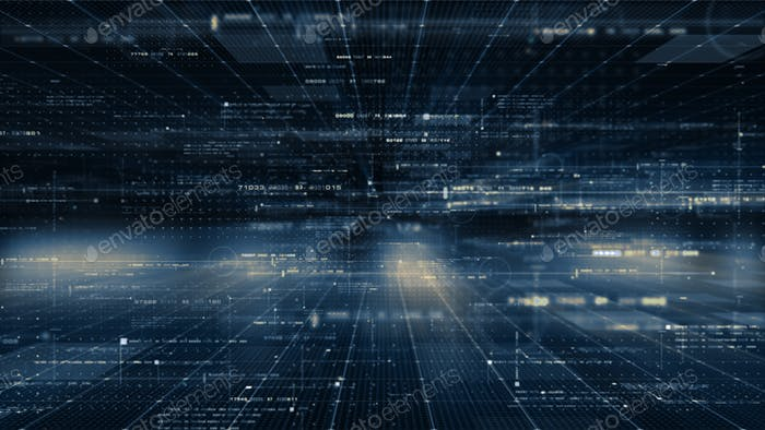 Futuristic digital generated motion abstract matrix cyber environment big data analytic artificial