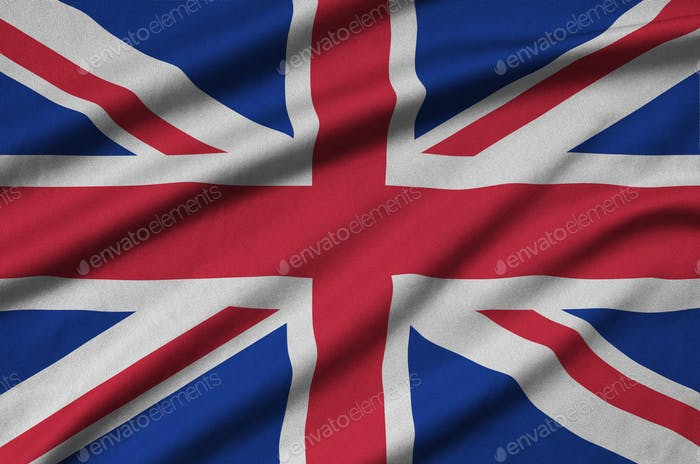 Great britain flag  is depicted on a sports cloth fabric with many folds. Sport team waving banner