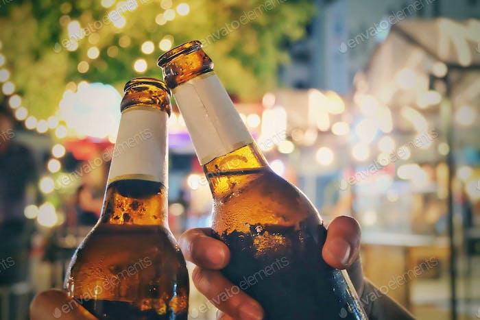 Smash beer bottles at night parties
