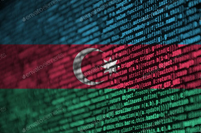 Azerbaijan flag  is depicted on the screen with the program code