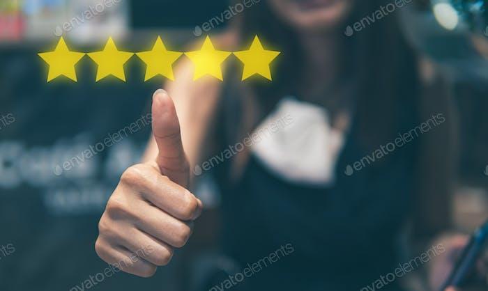 testimonial, stars, web, company, man, win, consumer, product, scoring, business, positive, satisfac