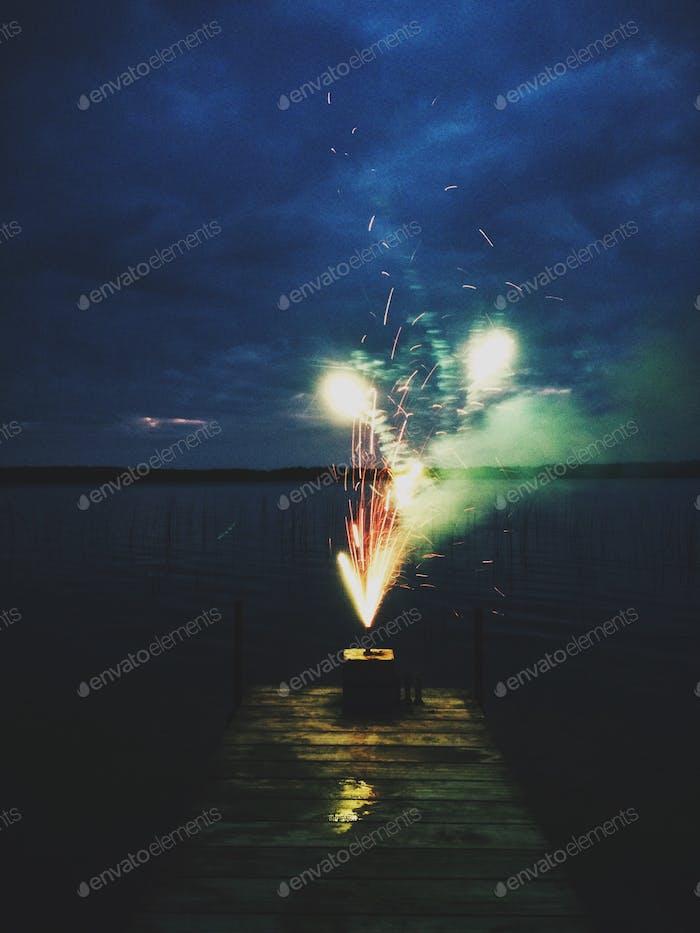 Fireworks on the back deck.