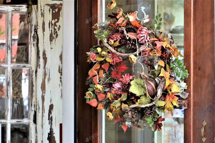 Fall wreath hanging on the front door!