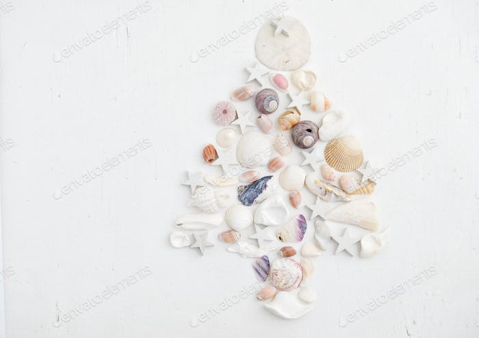 Christmastree made from shells and white stars on a white background
