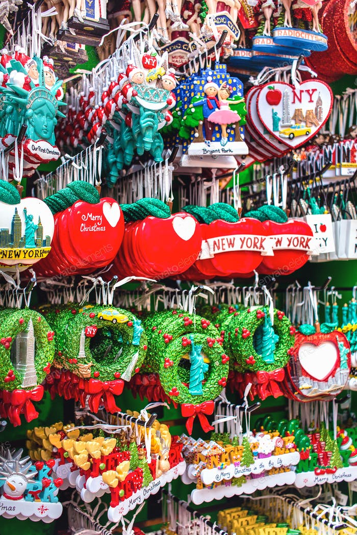 Colorful souvenirs and Christmas Tree decorations to buy in the New York City.