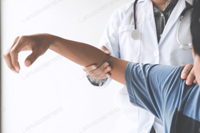 Doctor checking patient with elbow to determine the cause of illness