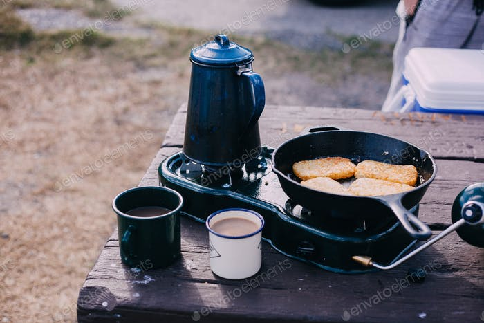 Morning coffee at the campground.