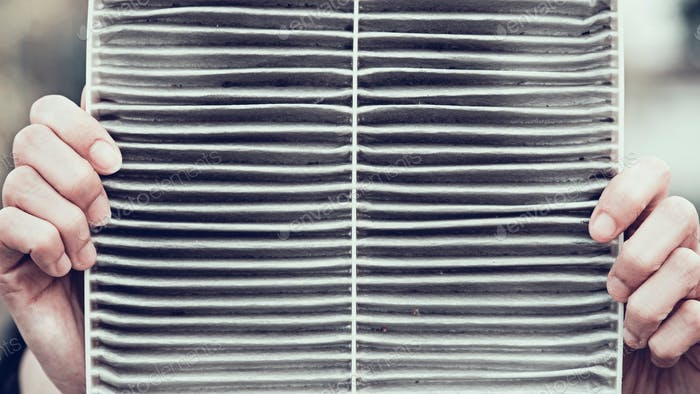 dirty filter of air purifier in bad pollution./PM.2.5