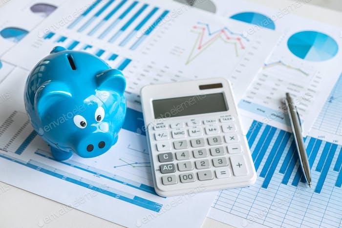 Business finance with report document