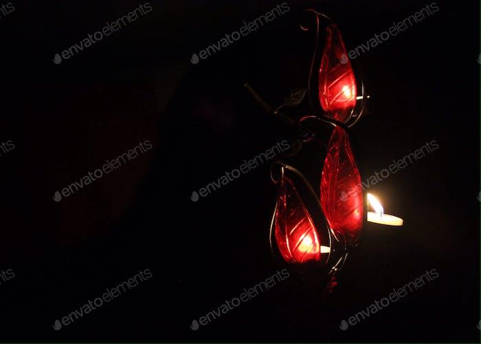 Tealights glowing in the dark