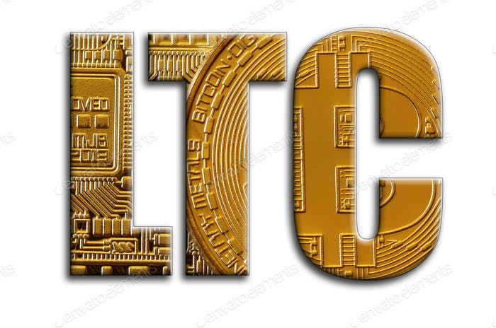 LTC. The inscription has a texture of the photography, which depicts several bitcoins.