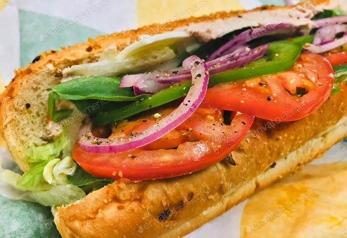 NOMINATED - Footlong tuna sub sandwich with all the vegetables