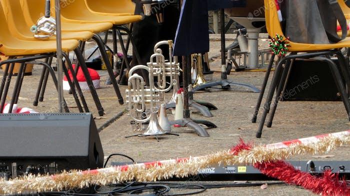 Brass instruments on stage