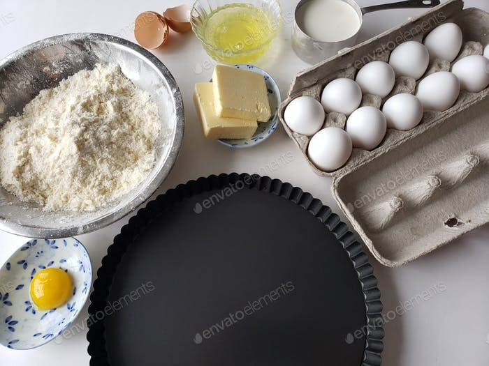 Flat lay items for baking a tart