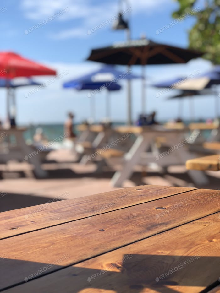 Beachfront restaurant patio