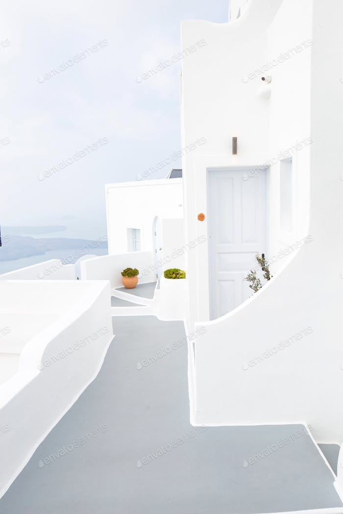White exterior home in santorini with Aegean Sea view